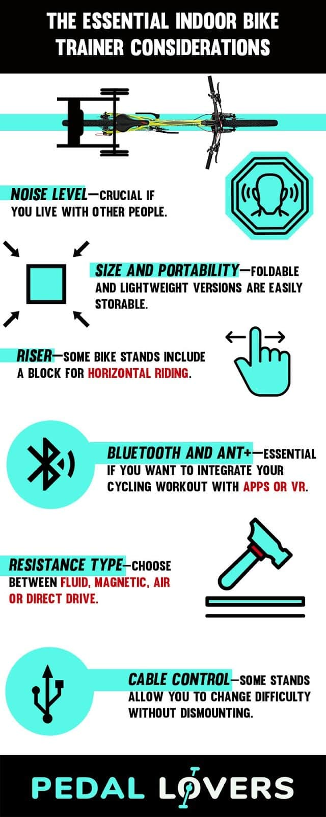 best stationary bike stand infographic