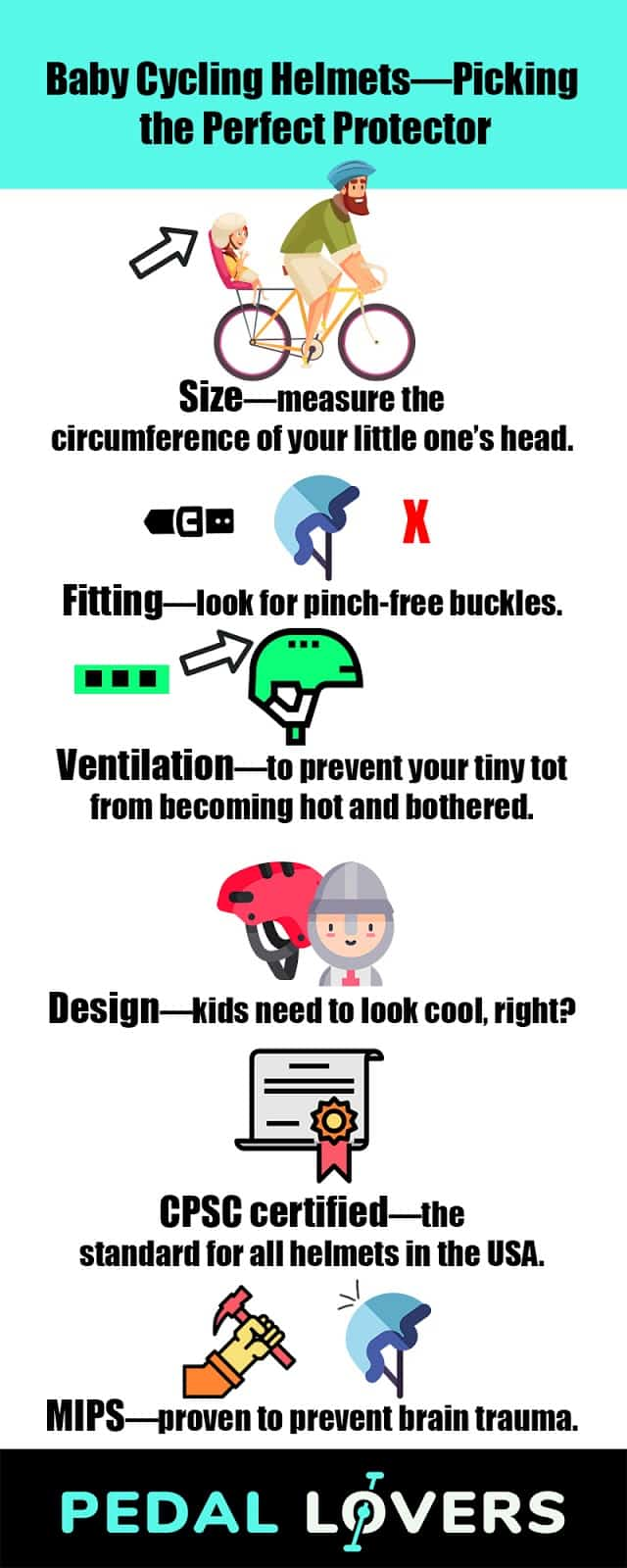 best baby cycling helmet infographic